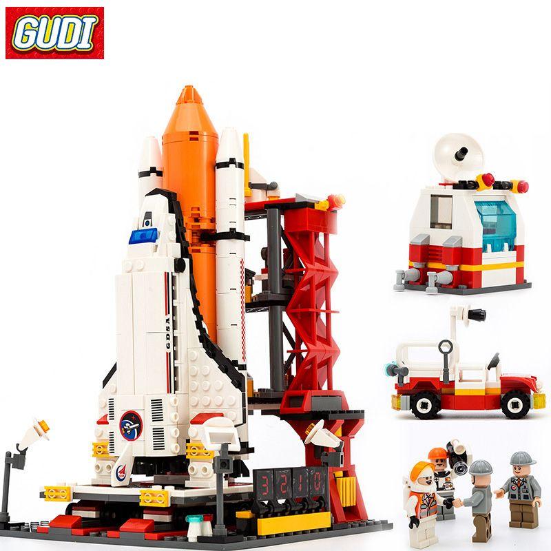 GUDI 8815 Assembly Building Blocks Compatible Legoe City Space Shuttle Launch Center Model Blocks DIY Bricks Toys For Children