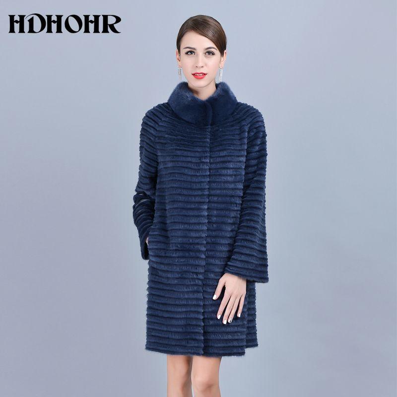 HDHOHR 2018 Hot Sale Real Mink Fur Coats Women Warm Natural Kintted Mink Coats Mandarin Collar Mink Fur Jackets For Female