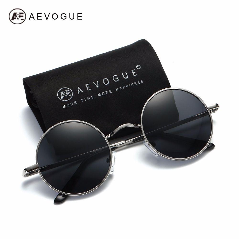 AEVOGUE lunettes de Soleil Polarisées Pour Hommes/Femmes Petit Rond Alliage Cadre D'été Style Unisexe Lunettes de Soleil UV400 AE0518
