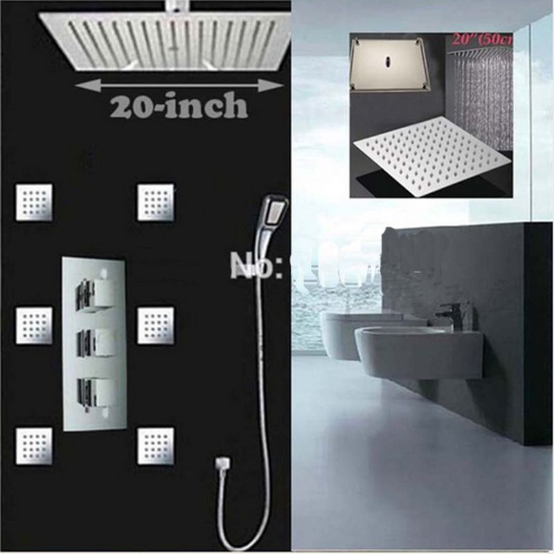 Uythner Newly Arrival 20 Inch Chrome Thermostatic Shower Faucet & Massage Jets Hot And Cold Water Mixer Tap