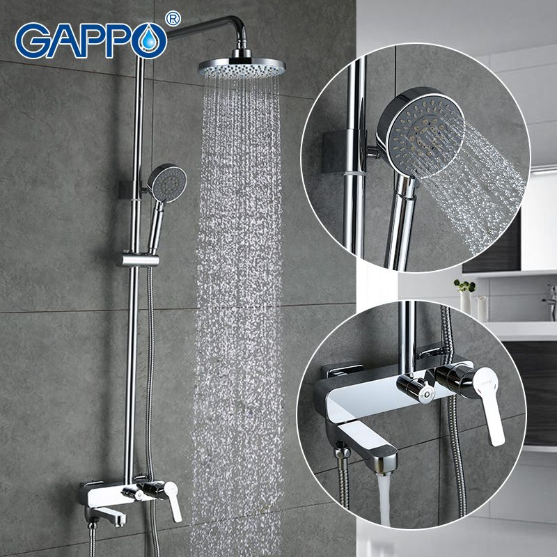 GAPPO bath shower faucets set bathtub mixer faucet bath rain shower tap bathroom shower head <font><b>stainless</b></font> shower bar GA2402