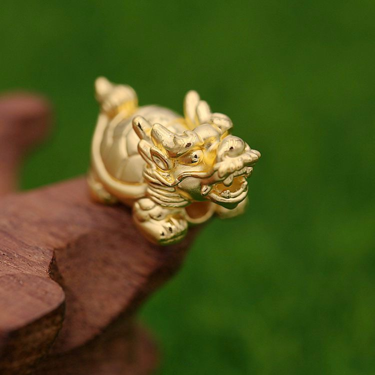 New Pure 999 24k Yellow Gold Dragon Tortoise Pendant 2.13g 1PCS