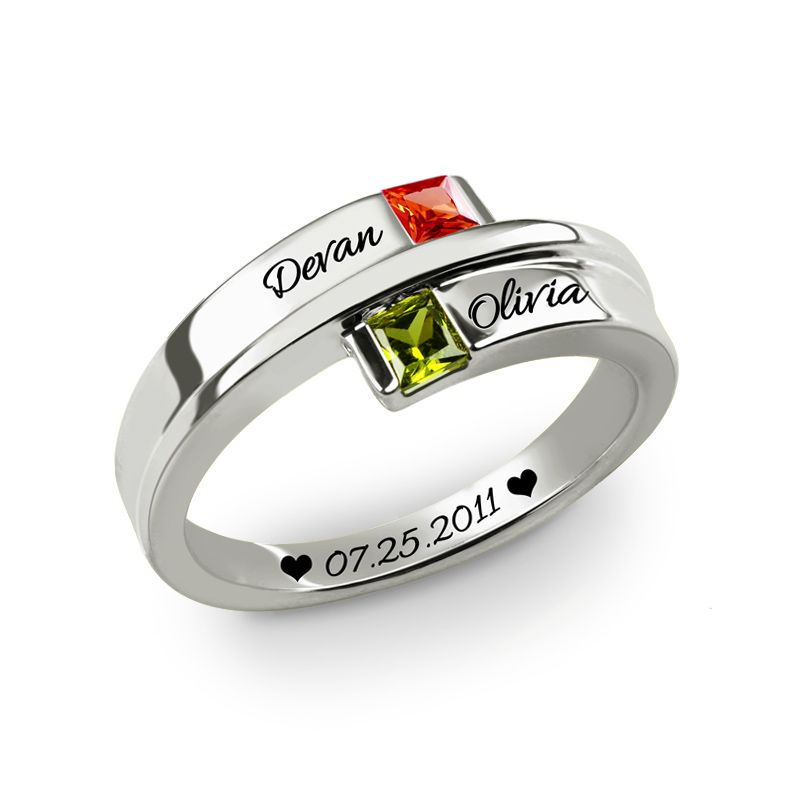 AILIN Engraved Double Square Birthstone Ring White Gold Color Couple's Ring