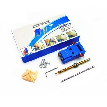 ALLSOME Mini Pocket Hole Jig Kit + Screwdriver + Step Drill Bit + Clamp + Wrench with Box Woodworking Tool HT1145