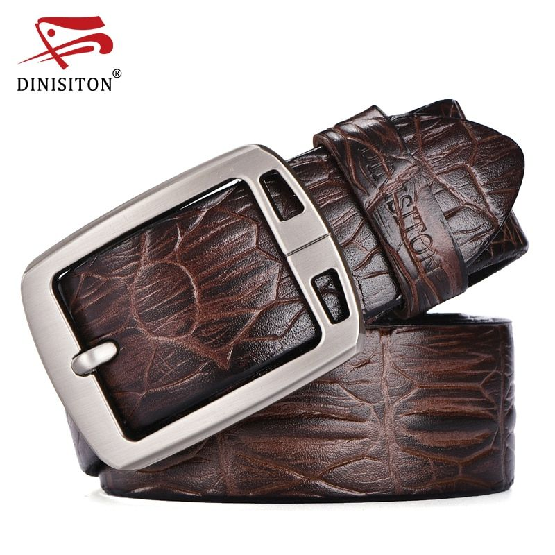DINISITON Mens Belts Luxury cow Leather Designer Belt For Men High Quality Pin buckle Masculino Crocodile Cinturones Hombre ERA