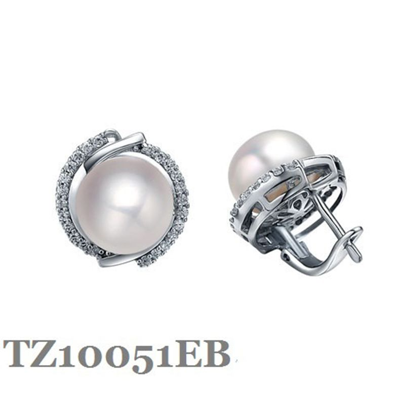 Guaranty Sterling silver Earring with 9.5-10mm Natural pearls fashion jewelry English castle lock finding earring for women M