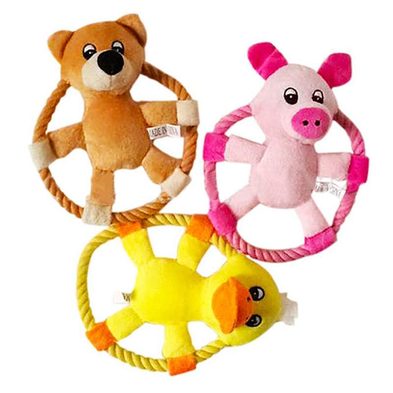 1 Piece 16cm Animal Pattern Flying Discs Pet Dog Toy Rope Ring Pig Duck Bear Items Design New