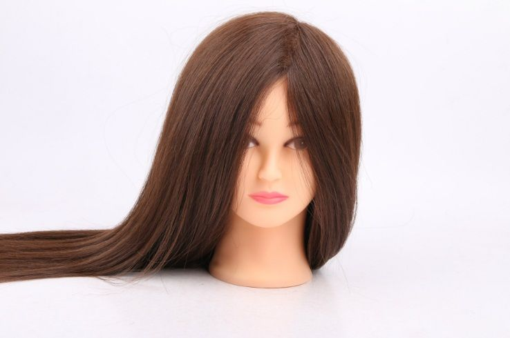 55 cm 100% Echte Menschliche Haar Friseursalon Puppenköpfe Schaufensterpuppen Pädagogisches Kosmetologie Mannequinkopf Mit Echthaar