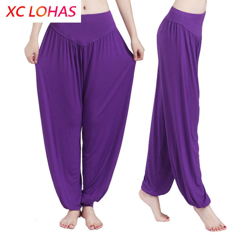 Pantalons de Yoga femmes grande taille Bloomers colorés danse Yoga TaiChi pantalon pleine longueur lisse pas de rétrécissement pantalon antistatique 3XL livraison directe