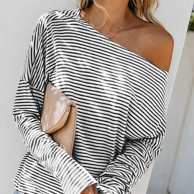 Sexy épaule froide T-shirt mode lâche rayé T-shirt manches chauve-souris grande taille coupe asymétrique femmes personnalité hauts Tee-Shirt