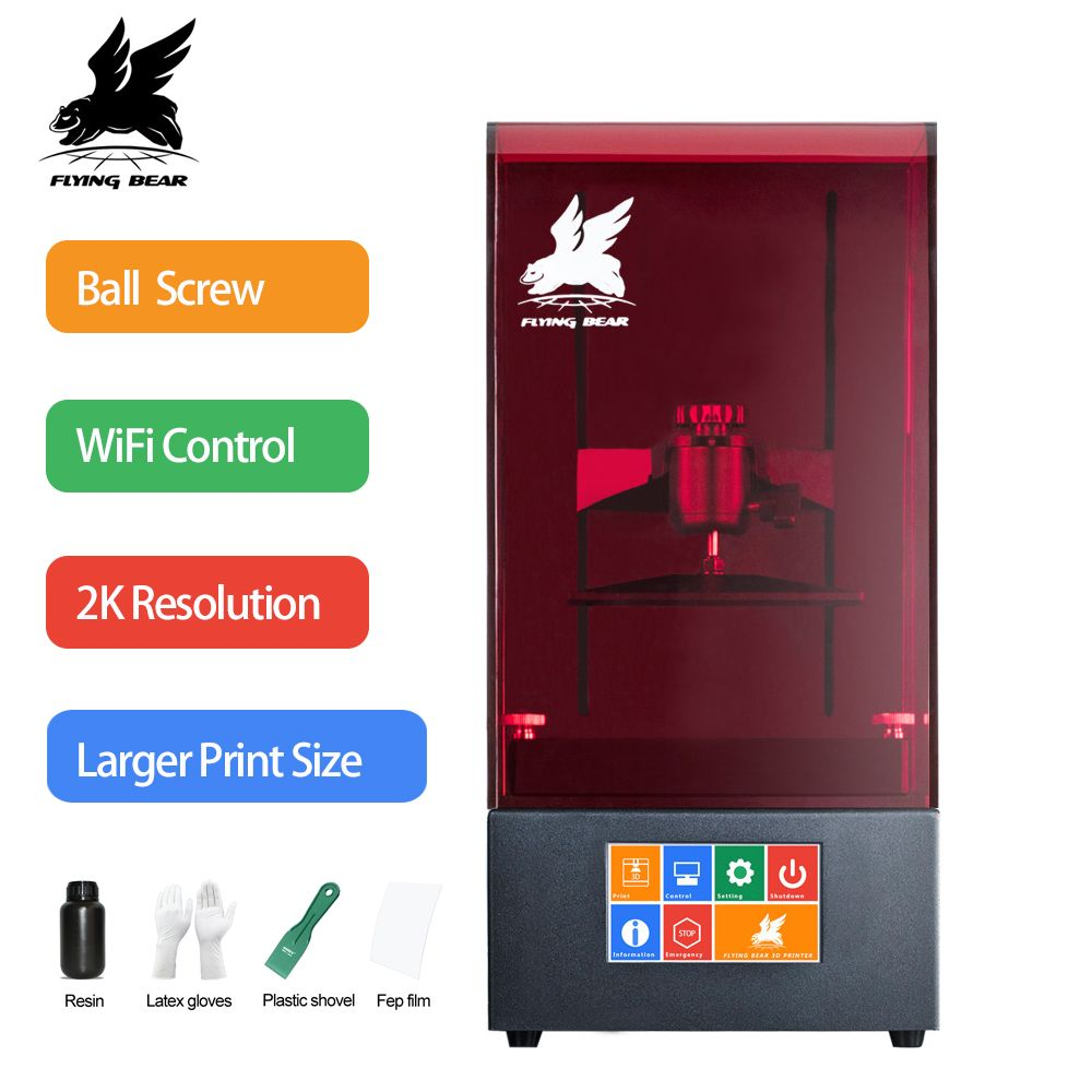 2018 Newest Flyingbear Shine UV Resin DLP 3D Printer Color Touch Screen 2560*1440 LCD High Precision SLA WiFi Plus Size