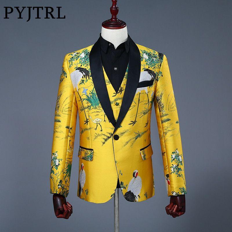 PYJTRL 2018 New Mens Classic Shawl Collar Grus Japonensis Print Slim Fit Gold Jacket Wedding Stage Singer Blazer Costume Homme
