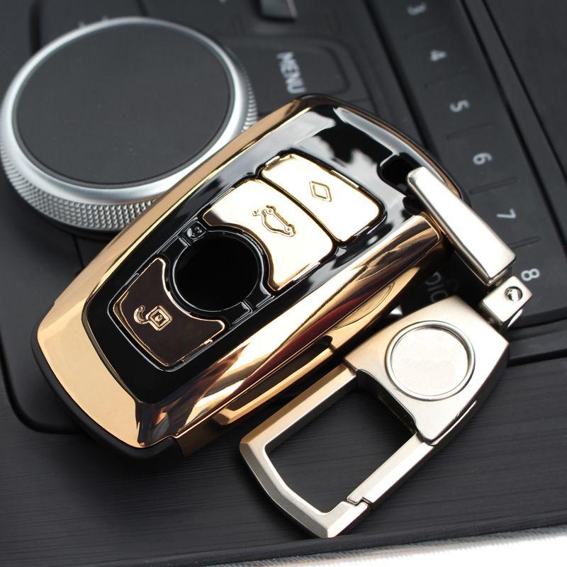 AEING ABS Auto Car Key Shell Case Cover Holder With Keyring Key Ring Chain Buckle keychain For BMW F07 F10 F11 F20 F25 F26 F30