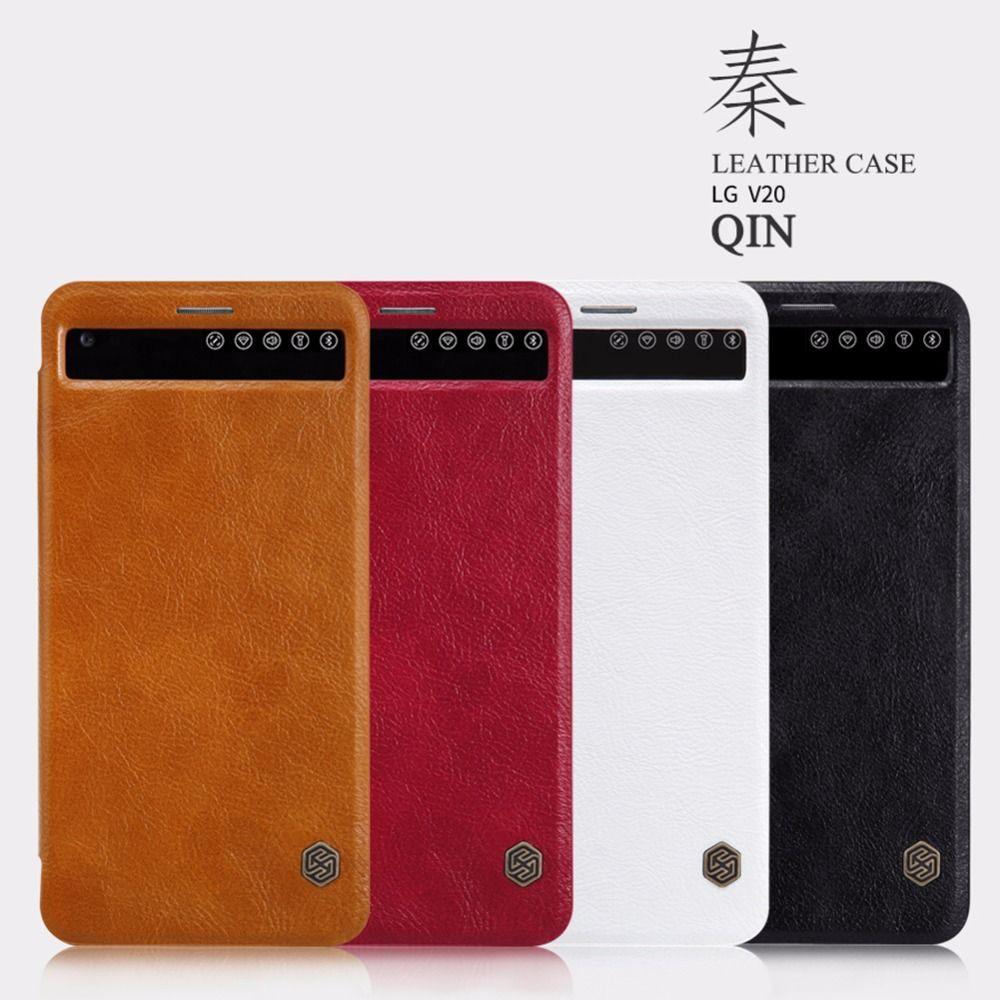 Pour LG V20 Nillkin série Qin étuis en cuir pour téléphone portable LG V20 étui portefeuille de luxe Style d'affaires étui à rabat