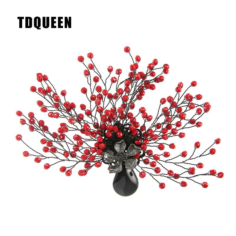 TDQUEEN Brooches Antique Silver Plated Red Bead Women Broches Natural Stone Pin Jewelry Tree Flower Brooch for Christmas Gift