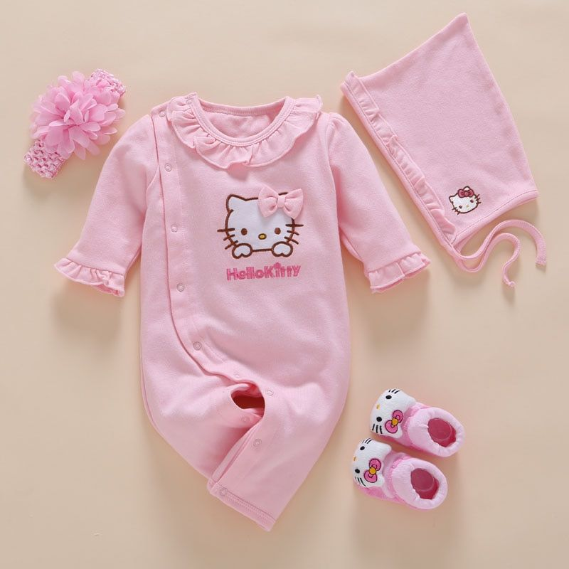 <font><b>4pcs</b></font>/Set New Born Baby Girl Clothes Romper Cotton Cute Embroidery Baby Toddler Rompers+Headband+Sock+Hat Meisje Vestido Batism