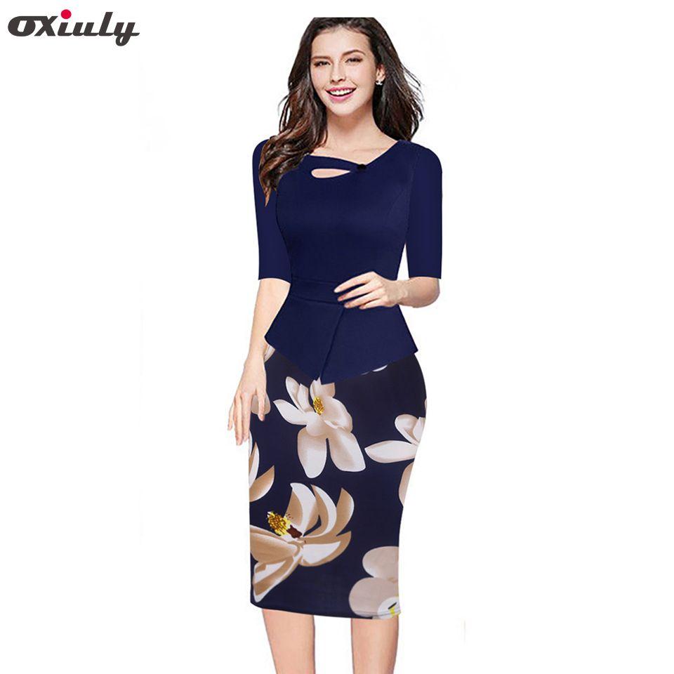 Oxiuly 2018 automne femmes imprimé Floral Patchwork travail gaine robe d'été demi manches moulante bureau grande taille 4XL 5XL robe crayon