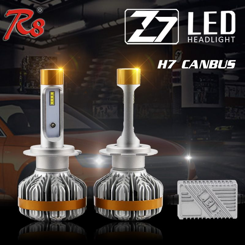 R8 Premium Quality Z7 Automobile 50W 6000LM 6500K H7 H8 H11 9005 9006 H16 LED Headlight Kit 6500K Bulbs CANBUS Easy Installation