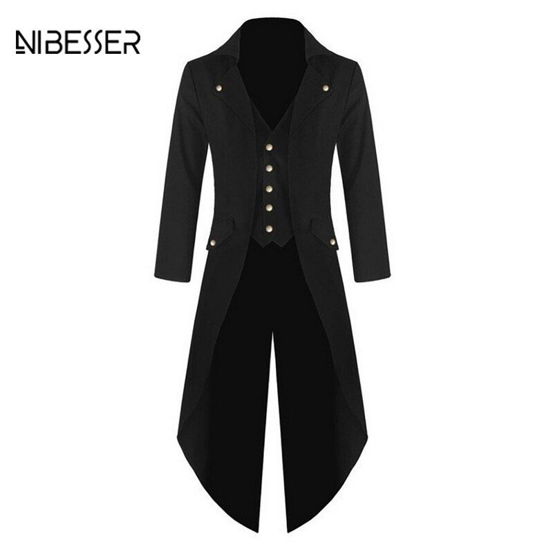 NIBESSER Brand Fashion Solid Men Suit Jackets Long Punk Retro Fake Pockets Jacket Classic Club Autumn Spring Windbreaker