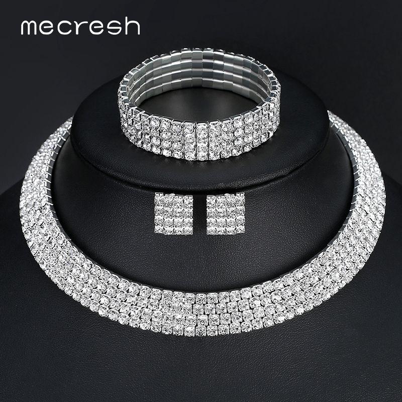 Mecresh Cristal De Mariée Ensembles de Bijoux Argent Couleur Strass Collier Mariage De Fiançailles Ensembles de Bijoux pour Femmes TL299 + SL116