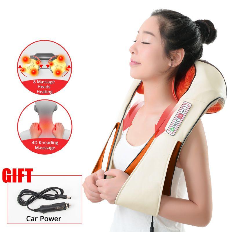 KLASVSA électrique chauffage cou masseur cap Shiatsu voiture maison infrarouge pétrissage thérapie mal épaule dos Massageador Relax