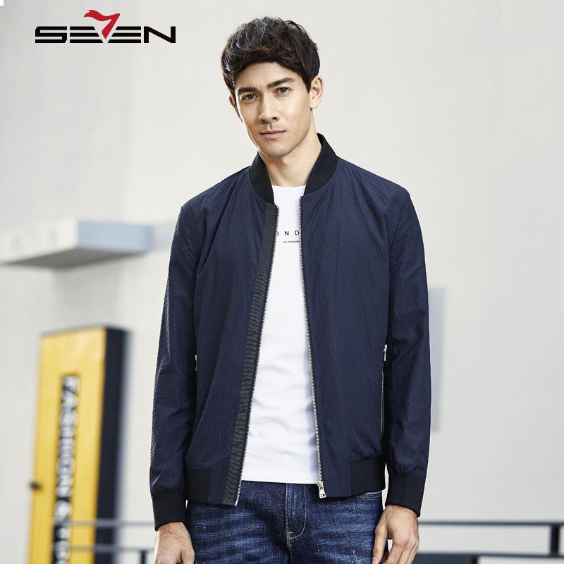 Seven7 Brand New Spring Men Fashion Baseball Collar Slim Jackets Simple Casual Solid Men's Coat Male Comfort Outerwear 114K28050