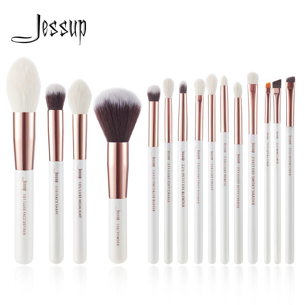 Ensemble de pinceaux de maquillage professionnels Jessup perle blanc/or Rose pinceau de maquillage kit d'outils poudre de fond de teint cheveux naturels-synthétiques