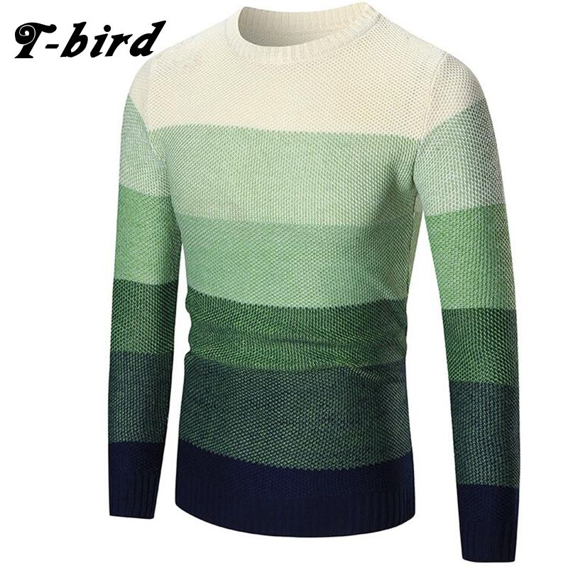 2017 New Autumn Fashion Brand Clothing Men Sweater Color Overlay O-Neck Slim Fit Casual Pullover Men Sweaters Knitting Mens XXL