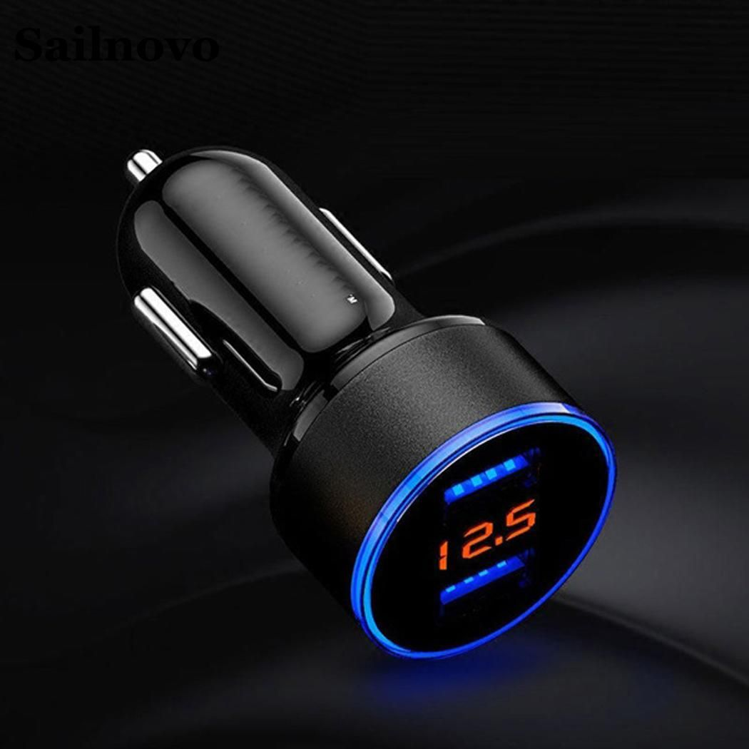 3 x 6cm Dual USB Car Charger 3.1A 5V LED Display Quick Charging Smart Surge Protection Fuse Mode Car Charger for Moblie Phone