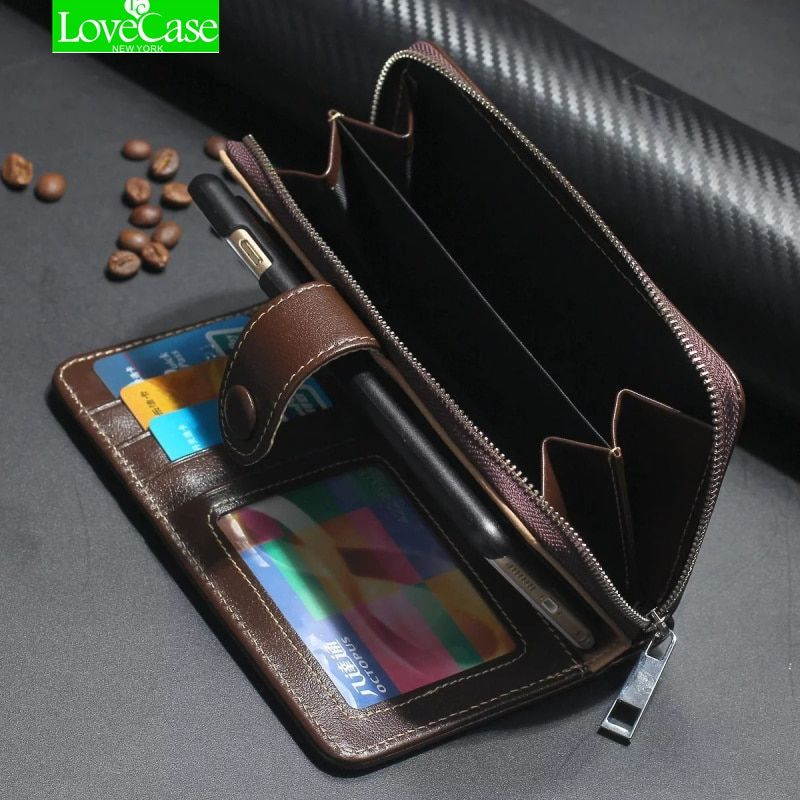For iphone 7 Case Real Genuine Leather Case Wallet Cover for Iphone 7/ 7 Plus Flip Cover Zipper Phone Bag Classic Business case