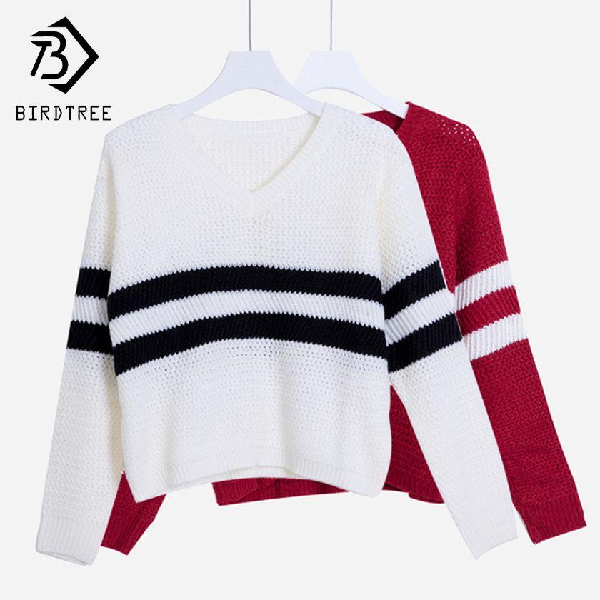 4 couleurs! printemps automne femmes pulls pulls col en v Crop hauts rayé à manches longues chandail tricoté Roupas Femininas T4N510