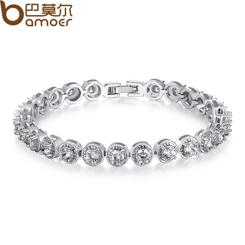 BAMOER Gold Color Princess Cut Chain & Link Bracelet with AAA Cubic Zircon for Women Party Jewelry JIB056