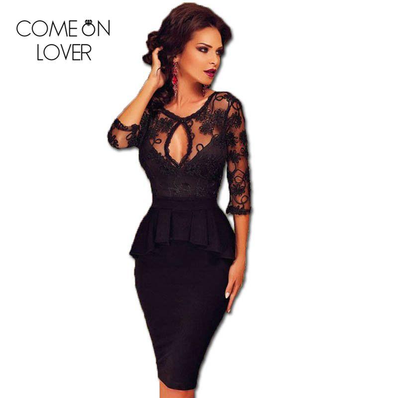 RE80206 trois quarts manches broderie robe noire automne grande taille robe Peplum Ukraine bureau Sexy dentelle femmes robe moulante