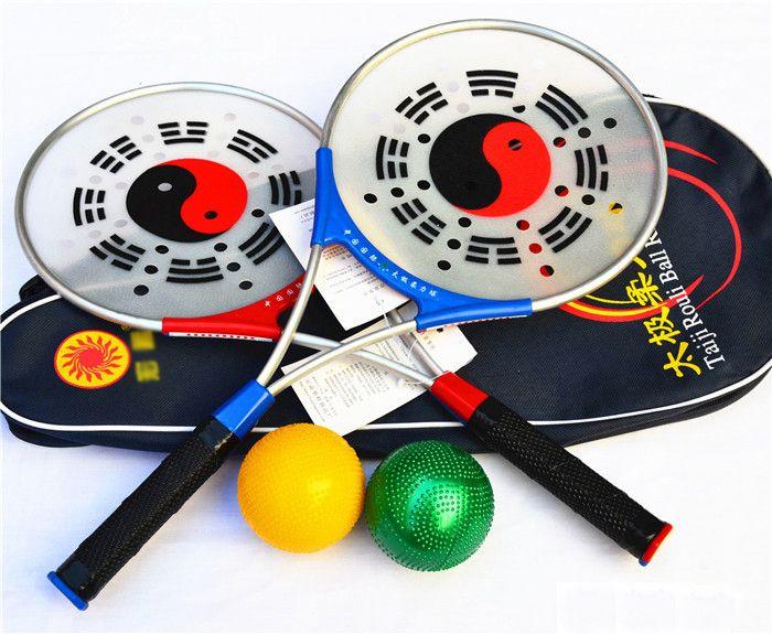 1 Set/ 2 Rackets ,4Balls,1Bag  Chinese Kongfu Chinese Wushu Martial Arts Taiji Rouli Ball Sports,Tai Chi Racket Set