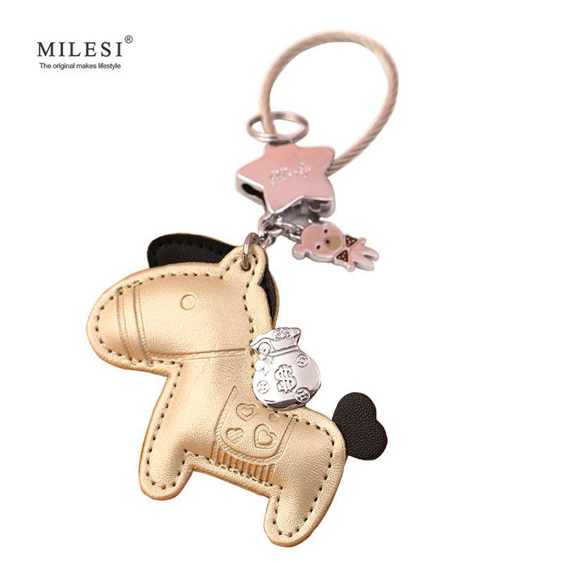 Milesi En Cuir Porte-clés Cheval Forme Sac Pendentif Porte-clés Charme Original De Voiture Porte-clés Bijou Mignon Cadeau Pour Amant K0141 K0142