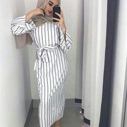 Musulman Bande Maxi Robe Trompette Manches Abaya Longue Jupe Robe Robes Tunique Kimono Jubah Moyen-Orient Ramadan Arabe Islamique Vêtements