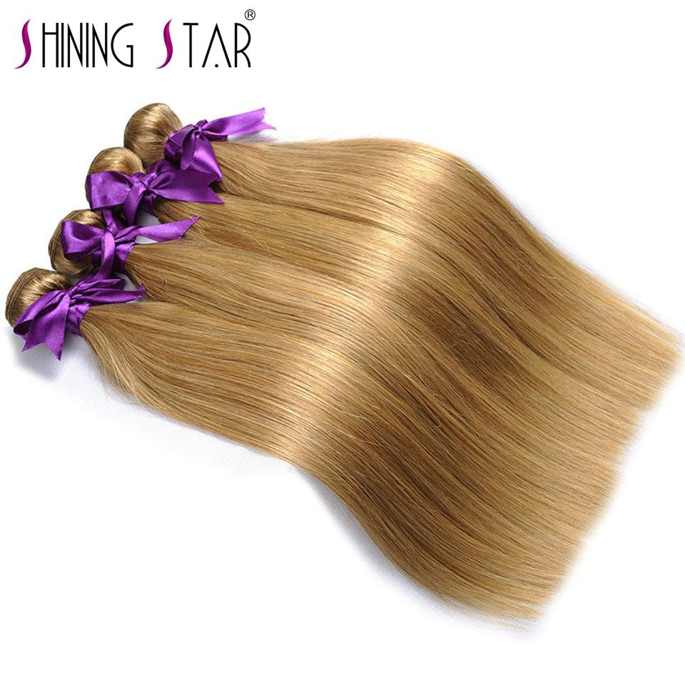 Color27 Honey Blonde Bunldes Brazilian Straight Hair Weave Bundle Human Hair Bundles Shining Star Non Remy Hair weave extensions