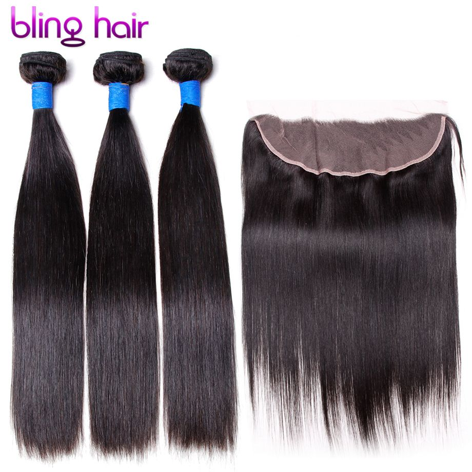 Blinghair Brazilian Straight Remy Human Hair 3 Bundles With 13x4 Lace Frontal Remy Hair For Salon Supply Hair Extension Weft