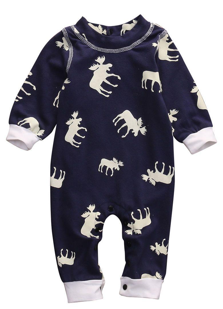 Для новорожденных для маленьких девочек мальчиков Moose Повседневное комбинезон с длинными рукавами из одного предмета одежда