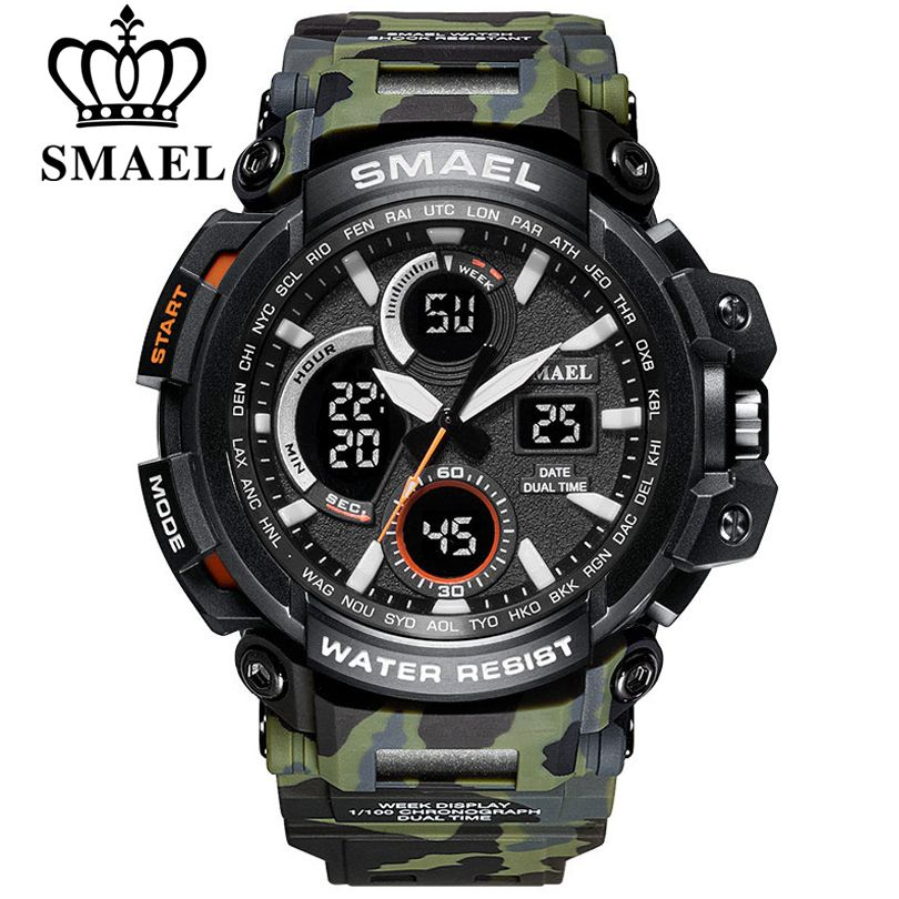 SMAEL Camouflage Military Watch Men Waterproof Dual Time Display Mens Sport Wristwatch Digital <font><b>Analog</b></font> Quartz Watches Male Clock