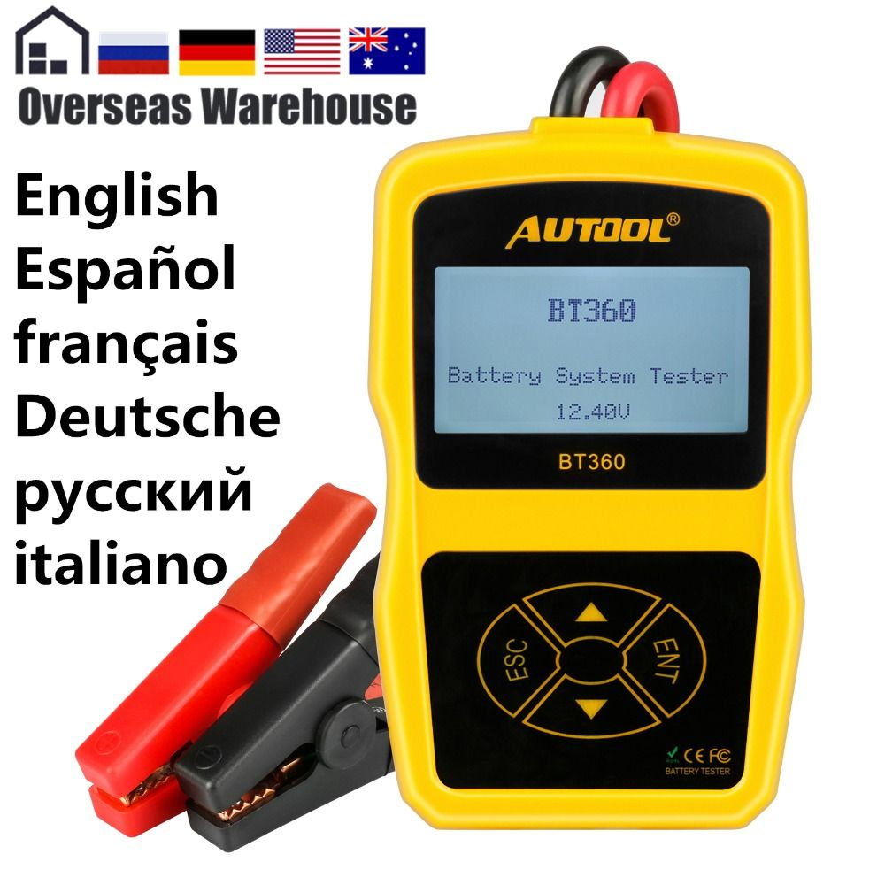 Autool BT360 Car Battery Tester 12V Digital Portable Analyzer Automotive CCA Voltmeter Auto Multi-Language BAD Cell Test Vehicle