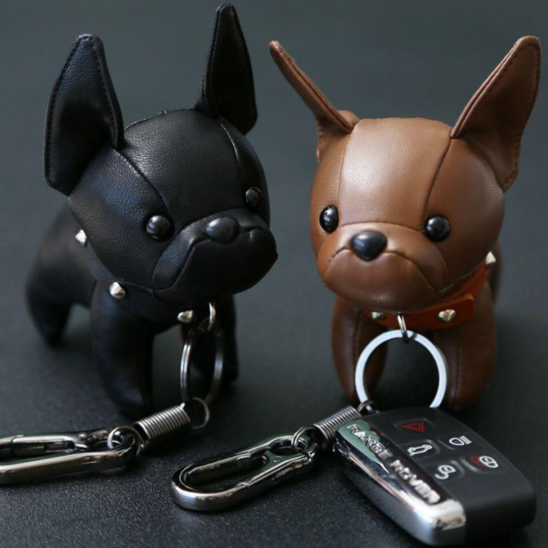Bulldog Keychain Pu Leather Animal Dog Keyring Holder Bag Charm