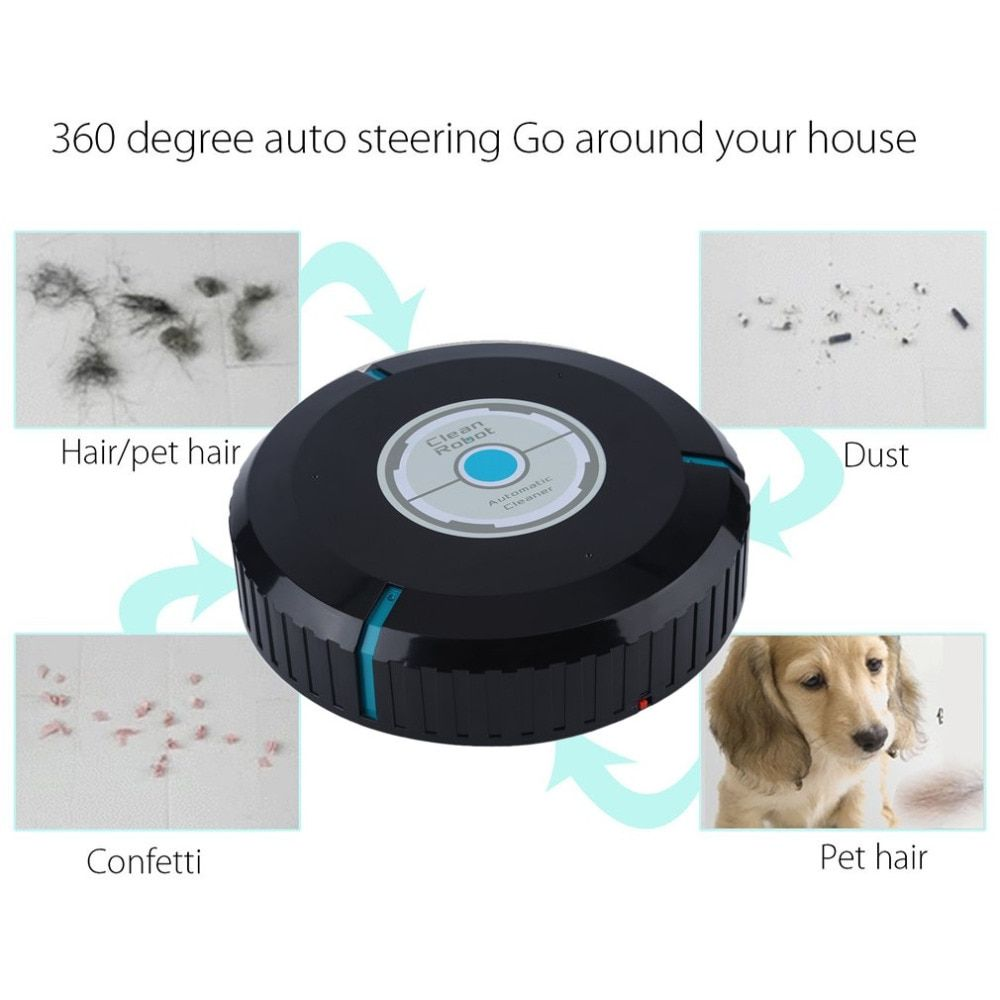 Home <font><b>Auto</b></font> Cleaner Robot Microfiber Smart Robotic Mop Dust Cleaner Cleaning-black In Stock Drop Shipping Hot New