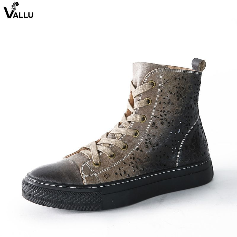 2018 VALLU Women Flat Boots Genuine Leather Retro Vintage Casual Shoes Cut Out Ankle Boots Green Gray Yellow