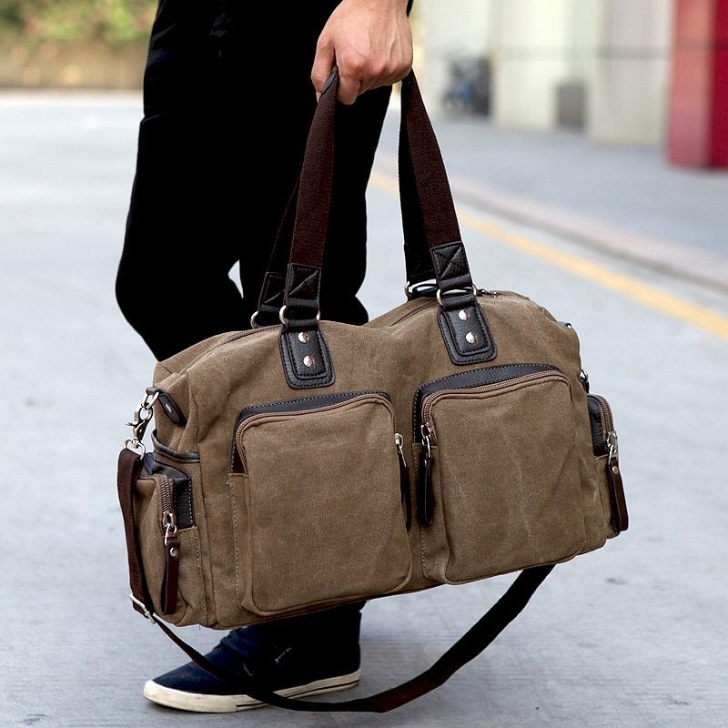Nuevos hombres de Alta Calidad Bolsas de Viaje Cremallera Sólido Hombres Bolsa de Viaje Bolsa de Lona Bolsa de Gran Capacidad de Equipaje de Mano