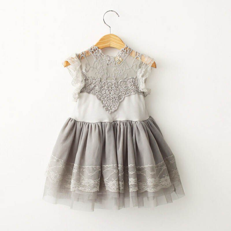 Children Clothings 2017 Summer style Girl Lace Dress Vintage Ruffles Toddler Girls Princess Party/<font><b>Birthday</b></font> Tulle Dress Costumes