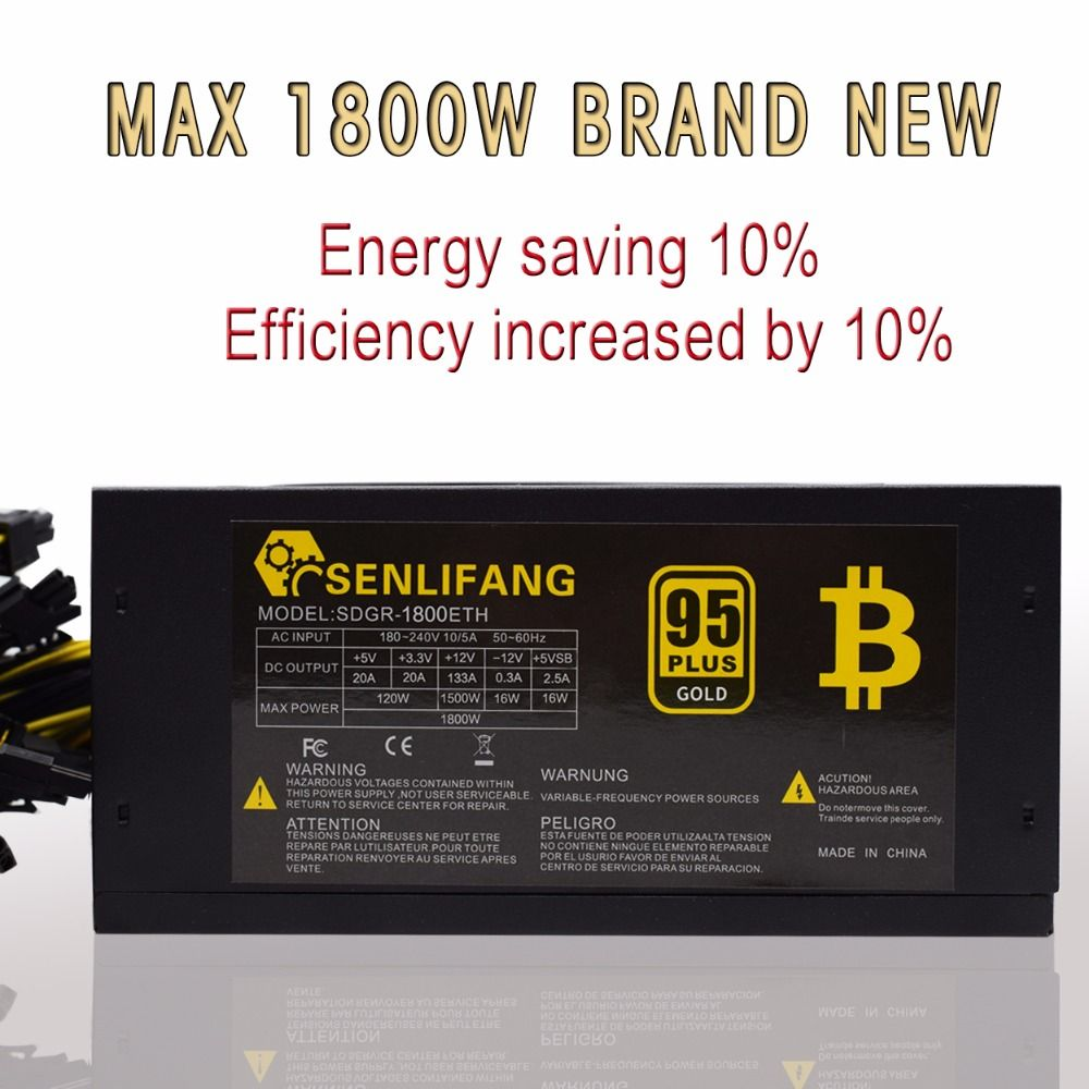 1800W 95% efficiency ATX12V V2.31 ETH Coin Mining Miner Power Supply Active PFC Power Supply Support 6 graphics cards for bitman