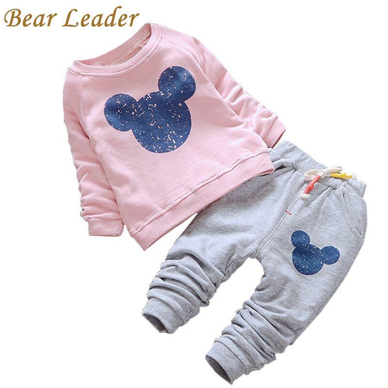 Bear Leader Baby Girl Clothes 2018 Spring Baby Clothing Sets Cartoon Printing Sweatshirts+Casual Pants 2Pcs for Baby Clothes