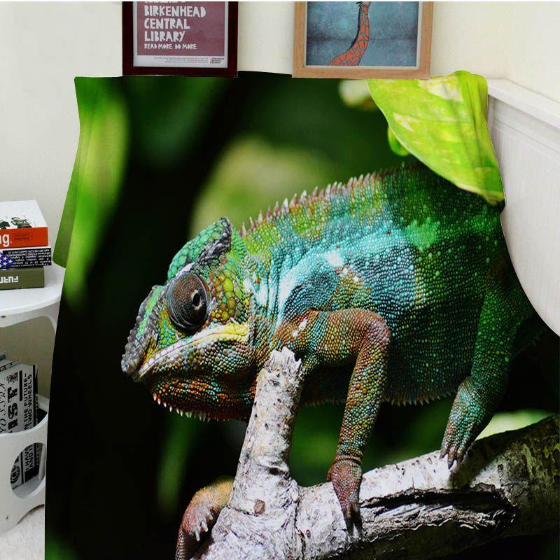Decken Cobertor Wärme Weichen Plüsch Magische Tier Chameleon Eidechse Camouflage Grünen Sofa Bed Werfen eine Decke Dicke Dünne Plaid