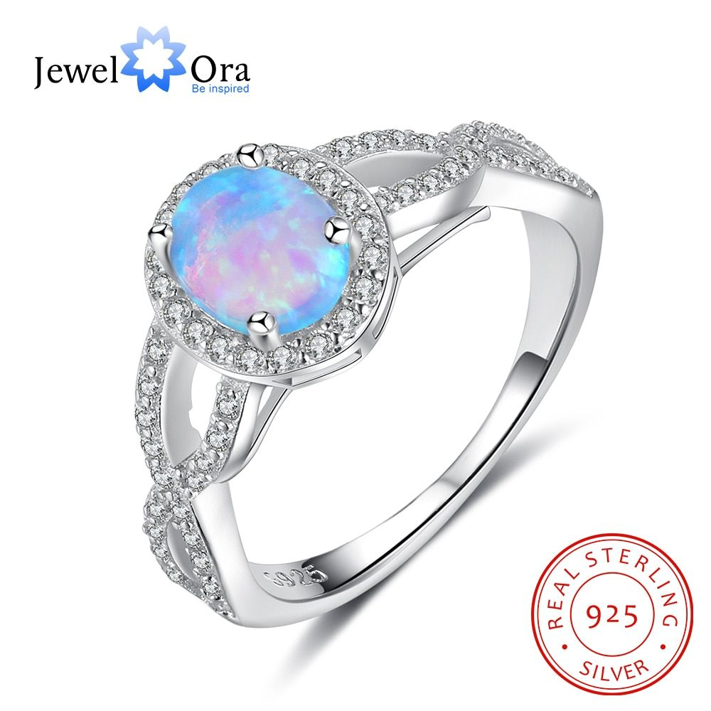 Oval Blue Opal Main Stone With CZ 925 Sterling Silver Women's Ring Elegant Wedding Engagement Jewelry For Her(JewelOra RI102968)